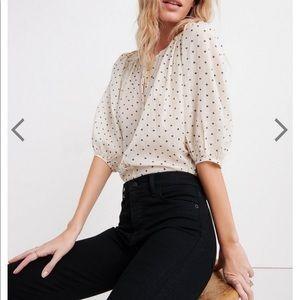 Lucky brand polka dot button down blouse